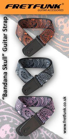 Fretfunk's Colourful range of Guitar straps - Bandana Skull design available now from www.fretfunk.co.uk