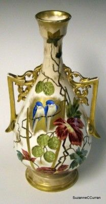 Antique Royal Bonn Mehlem 12 Vase Berries w Blue Birds | eBay