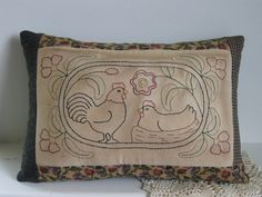 Chicken Pillow Primitive Folk Art Rustic Country Decor by dlf724, $22.00