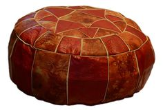 Amazon.com - Egyptian Moroccan Handmade Genuine Leather Ottoman Pouf (Large) Red & Patched Orange -