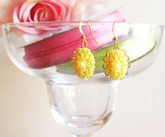 Adorable  yellow resin earrings by TasteofShabbyChic on Etsy, $16.00