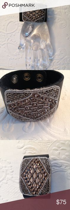 Handmade leather french shoe buckle cuff bracelet Handmade (by me!) with many more similar ones soon to be posted. Each bracelet is habd made and one of a kind. They have hand selected vintage french shoe buckles and genuine leather cuffs. This cuff has silver clasp closure and is adjustable. Rock this fabulous chunky statement piece!! Jewelry Bracelets