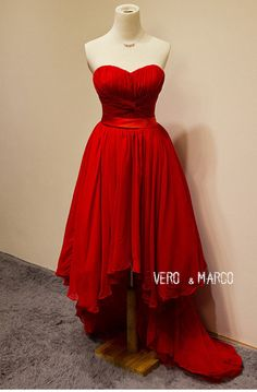 Fasion Red sweetheart high-low A-line ruched chiffon satin prom bridesmaid dress evening dress Christmas dress ET308