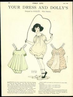 Child Life Magazine Paper Doll Your Dress & Dolly's May 1926 Patty -CHIQUET | eBay