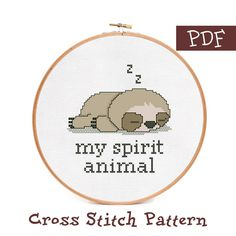 Cute baby sloth cross stitch pattern for beginners. My spirit animal cross stitch pattern PDF. - Cute slipping sloth cross stitch pattern – My spirit animal quote xstitch pattern - Cross Stitch Quotes, Simple Cross Stitch, Cross Stitch Animals, Modern Cross Stitch, Cross Stitch Kits, Cross Stitch Designs, Cross Stitch Beginner, Cross Stitch Owl, Cross Stitch Cards
