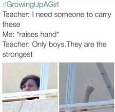 #growingupagirl Last week, we had a canned food drive and the teacher wanted two volunteers so I volunteered and got picked, I got carried almost all the cans minus two and people kept asking my partner (a male) why I was carrying almost everything, =.= it wasn't that heavy