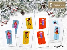 ElisabethLuissint Merry Christmas, Funny Character, Bunt, Illustration, Characters, Etsy Shop, Funny Greeting Cards, Rain Bow, Postcards