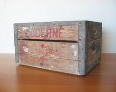 Vintage Wood Storage Crate - Industrial Decor. $62.00, via Etsy.