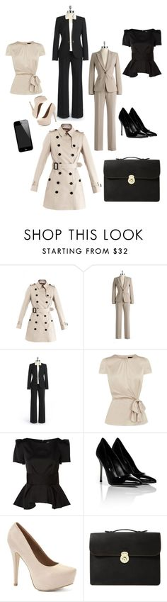 """""""ode to Olivia Pope"""" by brooke-summers ❤ liked on Polyvore featuring Burberry, Tahari by Arthur S. Levine, Coast, Almari, Sergio Rossi and Dooney & Bourke"""