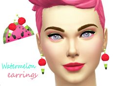 The Sims Resource: Watermelon earrings by Pinkzombiecupcake • Sims 4 Downloads