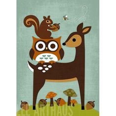 121R Retro Owl, Squirrel, Deer and Bee Print 5x7