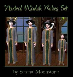 Mod The Sims - Neutral Warlok Robes Set - A Better Option for Your Warlok Sims (part of my Warlok Robes Collection) Supernatural Witch, Witch Outfit, Sims 2, The Neighbourhood, Neutral, Aliens, Witches, Video Games, Magic