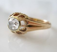 1880s Antique Rose Cut DIAMOND Ring Rose Gold, Antique Jewelry
