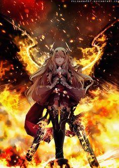 anime angel Fighting by Manga Girl, Dark Anime Girl, Cool Anime Girl, Chica Anime Manga, Beautiful Anime Girl, Kawaii Anime Girl, Anime Art Girl, Anime Guys, Anime Angel Girl
