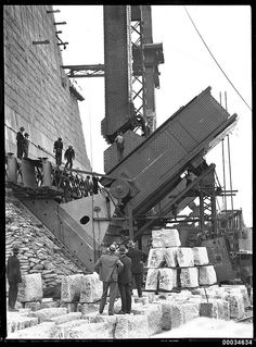 Positioning main bearing for Sydney Harbour Bridge, late 1931 | by Australian National Maritime Museum on The Commons