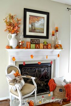 """Give Thanks"" - Adventures in Decorating: Our Simple Fall Mantel ... 