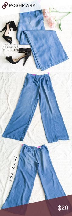 "NWT Wide Leg Chambray Pants ✦ these chambray trouser pants are new with tag & they have a slightly pleated front, pockets on each side & street chic fashionable look for Spring  ✦{I am not a professional photographer, actual color of item may vary ➾slightly from pics}  ❥waist:15"" w/stretchy back  ❥hips:22"" ❥leg length:42"" ❥inseam:32"" ➳material/care:lyocell/machine wash  ➳fit:baggy sml  ➳condition:NWT/good  ✦20% off bundles of 3/more items ✦No Trades  ✦NO HOLDS ✦No lowball offers/sales are…"