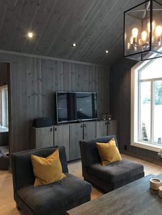 Swedish House, Forest House, Cabin Interiors, Wooden Walls, House Plans, Lounge, Cottage, Living Room, Interior Design