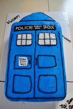DOCTOR WHO!!!! *I used white cake and bought blue food coloring to color the inside also for a little suprise when you cut the cake*
