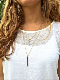 Layered Gold/Silver Drop Necklace