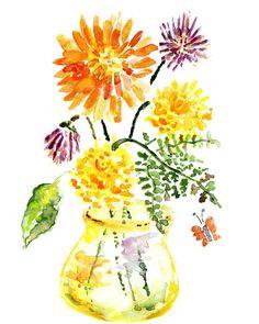 Watercolor Flower Sping Decor Bathroom Art by LightheartedDreamer