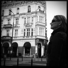 My beloved in front of E. Wedel's café & chocolate shop