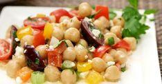Salade de pois chiche à la méditerranéenne Pasta Salad, Potato Salad, Salads, Food And Drink, Potatoes, Vegetables, Ethnic Recipes, Caramel, Zucchini