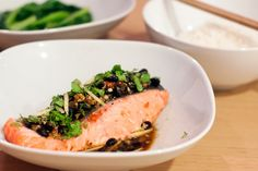 Steamed Salmon with black bean &chili sauce (use adzuki beans in place of black beans)