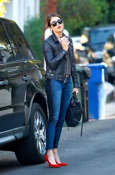 Nikki Reed in BLANKNYC Jeans. The jeans are from the NY brand, BlankNYC, and are called the Spray on jeans. The wash is a two panel style, in blue an black Chic Outfits, Fall Outfits, Fashion Outfits, Womens Fashion, Fashion Trends, Girly Outfits, Fashion Clothes, Red Heels Outfit, Looks Teen