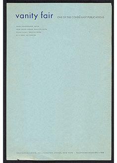 Vanity Fair, 1935 | Source -- letterhead