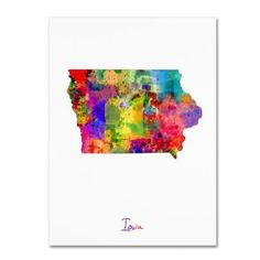 Trademark Fine Art Iowa Map Canvas Art by Michael Tompsett, Size: 18 x 24, Multicolor