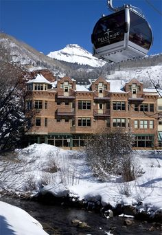 Hotel Columbia sits on the Telluride Ski Resort. Watch the ski lift outside of your hotel room. Ski Vacation, Dream Vacations, Vacation Spots, Telluride Lodging, Telluride Ski, Places Around The World, Around The Worlds, Colorado Plateau, Snow Skiing