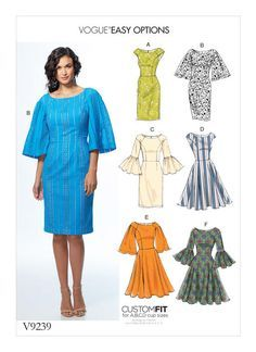 Vogue Patterns Sewing Pattern Misses' Princess Seam Dresses with Sleeve and Skirt Variations Vogue Patterns, Easy Sewing Patterns, Vintage Sewing Patterns, Clothing Patterns, Sewing Ideas, Diy Vetement, Princess Seam, Sewing Clothes, Dress Sewing