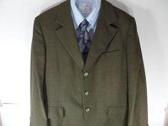 40S Hart Schaffner Marx Mens Sport Coat Blazer Suit Jacket Green Striped #HartSchaffnerMarx #ThreeButton