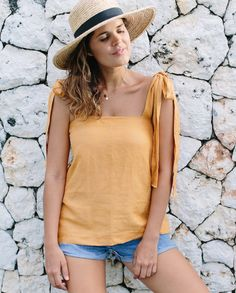 DIY Shoulder Tie Linen Top