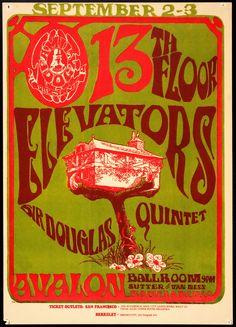 Floor Elevators Vintage Concert Poster from Avalon Ballroom (San Francisco, CA), Sep 1966 Rock Posters, Band Posters, Music Posters, Vintage Concert Posters, Vintage Posters, 13th Floor Elevators, Psychedelic Music, Psychedelic Posters, Hippie Posters