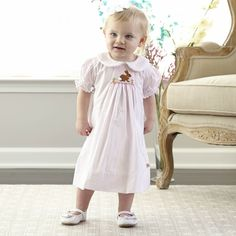 Light Pink Collar Bunny Smocked Bishop Dress at lollywollydoodle.com and for only $38! Click the image above to get a $5 off coupon code for your next order!