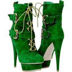PAOLO IANTORNO Miranda Green Suede Platform Ankle Boots with Double Buckle and other apparel, accessories and trends. Browse and shop 8 related looks.