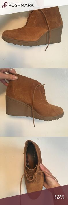 Tan suede wedges/ very comfortable Super comfortable wedges perfect for summer. Bought at Nordstrom rack Shoes Wedges