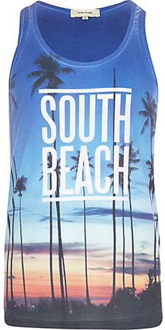 Blue South Beach palm tree print vest - vests - t-shirts / vests - men #tee #text #fashion #style #styling #tshirt #top #outfit #cute #words #quote