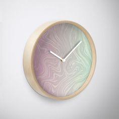 'Pastel Marble Splash' Clock by Rizwana Khan Purple Marble, Quartz Clock Mechanism, Pastel, Art Prints, Frame, Artwork, Color, Art Impressions, Picture Frame