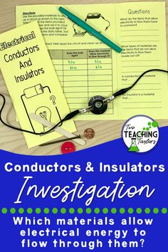 This foldable experiment for identifying and learning about conductors and insulators of electrical energy is perfect for interactive notebooks. This fun activity uses a graphic organizer for students to tract the results of their investigation. 5th Grade Science, Middle School Science, Elementary Science, Science Classroom, Teaching Science, Science Activities, Classroom Resources, Science Lessons, Math Resources