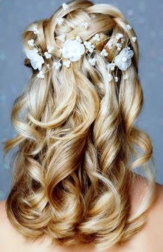 woven crown braid hairstyle with long waterfall curls - 30 Unique Wedding hairstyles  <3 <3