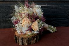 Romantic Rustic Wedding Bouquet Bridal by SmokyMtnWoodcrafts, $35.00