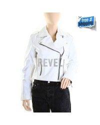 Womens White Leather Biker Jackets- Bianca