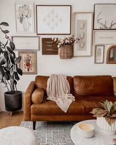 Boho living room cognac tan leather sofa gallery wall neutral home Boho Living Room, Living Room Sofa, Tan Walls, White Walls, Tan Leather Sofas, Green Interior Design, Gallery Wall, Peony, Wall Game