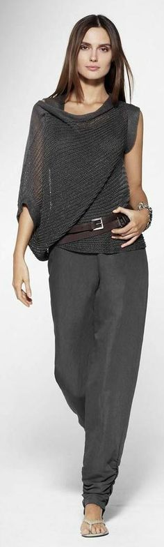 """gray jumpsuit, shawl, blouse @roressclothes This is about as """"dressed up"""" as I would ever want to be. Love it!"""