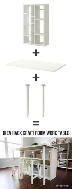 That is an superior DIY Ikea Hack craft room desk! Craft Room Desk, Craft Room Tables, Craft Room Storage, Storage Ideas, Cube Storage, Craft Rooms, Craft Table Ikea, Desk Storage, Diy Desk