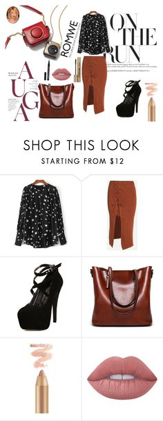 """""""Black Blouse with Romwe! (Contest with prize)"""" by bad-wolf-18 ❤ liked on Polyvore featuring Lime Crime and Yves Saint Laurent"""