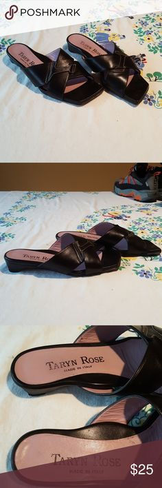 """Fun, flippy sandals These classy sandals are just what you need! Featuring a manageable 1"""" heel, and an unusual, architecturally styled toe, these are super stylish! All leather, hand made in Italy. Taryn Rose Shoes Sandals"""